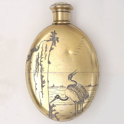 back of Tiffany Aesthetic Movement Antique Sterling Silver Japonesque Flask, c. 1873