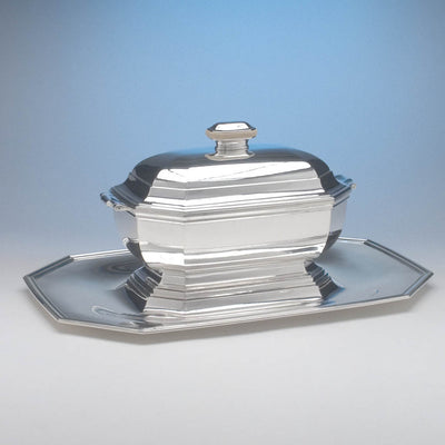 Angle of Tétard Frères French .950 Silver and Ivory Art Deco Covered Tureen on Stand, c. 1930