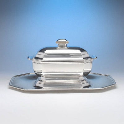 Tétard Frères French .950 Silver and Ivory Art Deco Covered Tureen on Stand, c. 1930