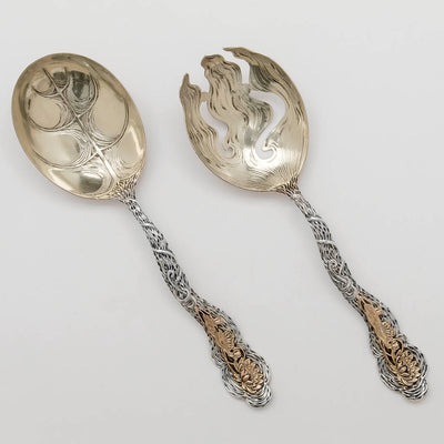 George Shiebler Aesthetic Design Antique Sterling Silver and 14k Gold Salad Serving Set, New York City, c. 1880's