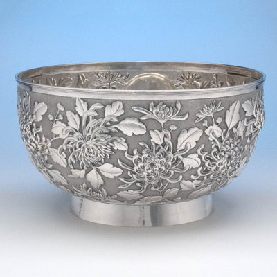 Detail of Hung Chong & Co Repoussé Chinese Export Silver Punch Bowl, c. 1900