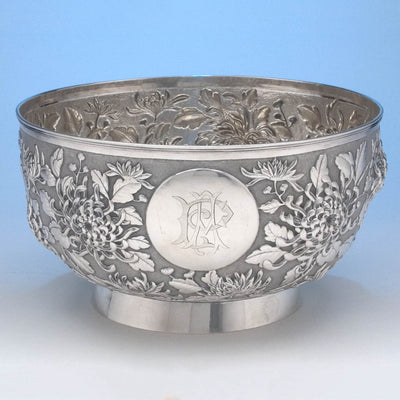 Hung Chong & Co Repoussé Chinese Export Silver Punch Bowl, c. 1900