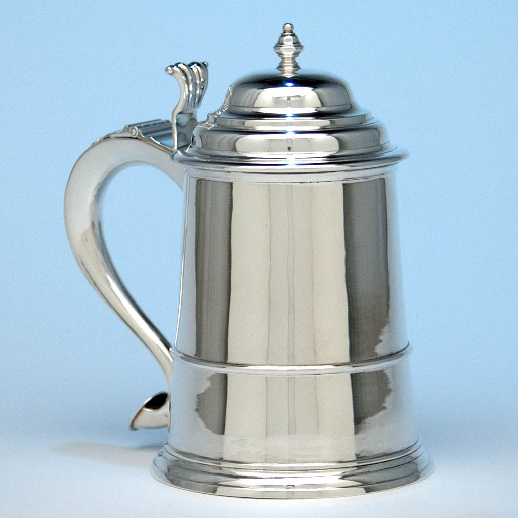 James T. Woolley Arts & Crafts Sterling Silver Covered Tankard, Boston, early 20th century