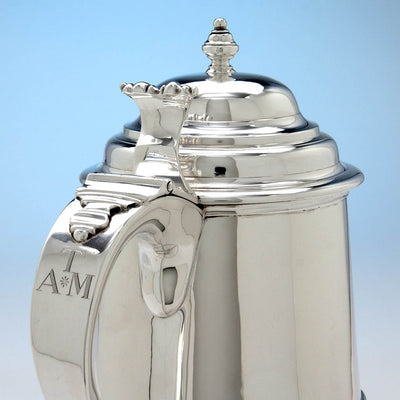 Initials on James T. Woolley Arts & Crafts Sterling Silver Covered Tankard, Boston, early 20th century