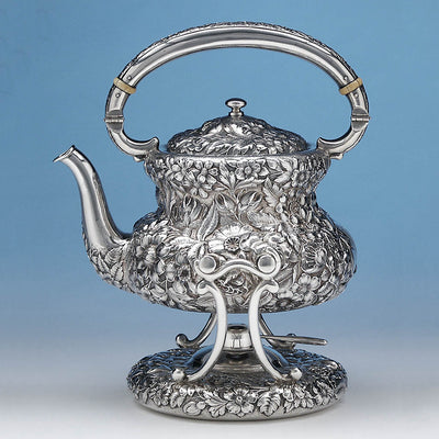 Kettle of Simons Brothers & Co Repoussé 6-piece Sterling Coffee and Tea Service, c. 1900