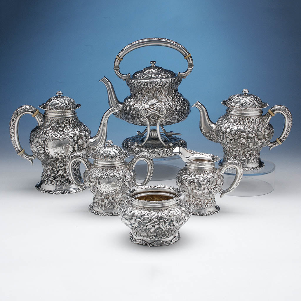Simons Brothers & Co Repoussé 6-piece Sterling Coffee and Tea Service, c. 1900