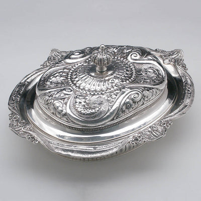 Top of Gorham Antique Sterling Silver Aesthetic Movement Prototype Vegetable Dish, Providence, RI, c. 1888