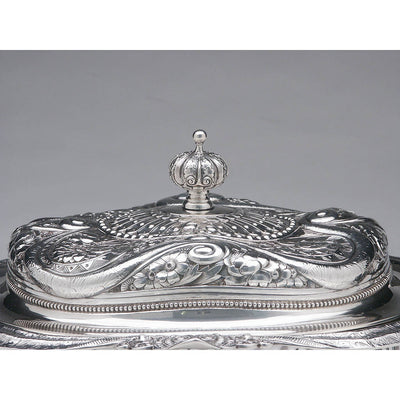 Handle to Gorham Antique Sterling Silver Aesthetic Movement Prototype Vegetable Dish, Providence, RI, c. 1888