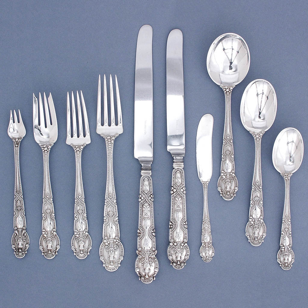 Tiffany & Co - The John Philip Sousa Sterling Silver 'Renaissance' Pattern Flatware service for 8, 92 pieces, early 20th century
