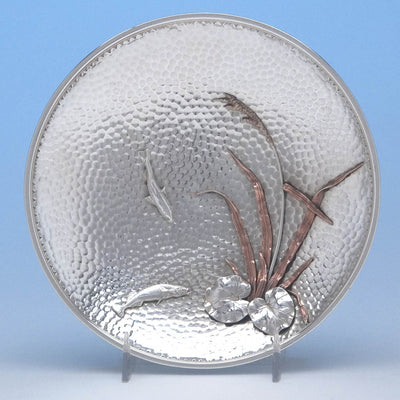 Gorham Aesthetic Movement Sterling and Copper Mixed-Metal Dish in the Japanese Taste, c. 1880