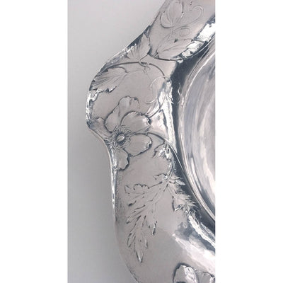 Border detail of Gorham Martelé .9584 Silver Centerpiece Bowl or 'Fern Dish', Providence, RI, 1912