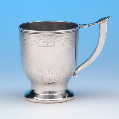 F.A. Durgin 'Medallion' Coin Silver Child's Cup, c. 1865