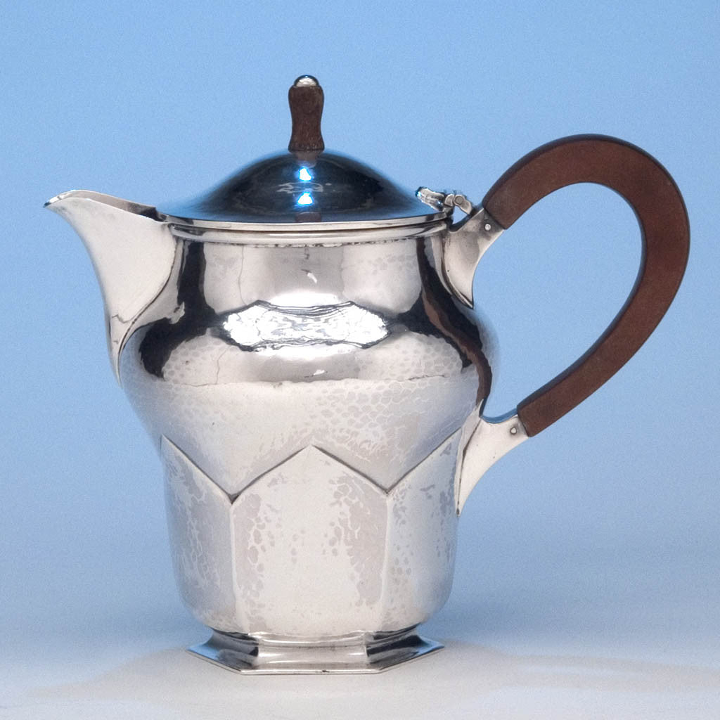 A. Edward Jones English Sterling Silver Arts & Crafts Hot Milk Pot, Birmingham, 1928/29