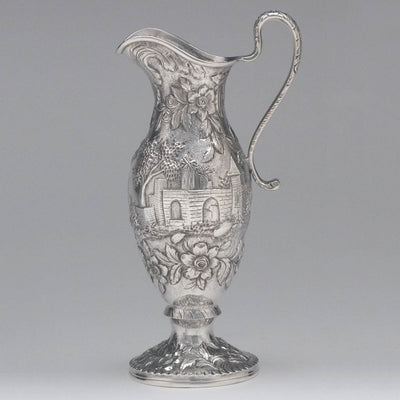 Creamer to S. Kirk & Son 'Etruscan' ('Landscape' or 'Castle') Pattern 4-piece Coffee or Tea Service, c. 1855-61
