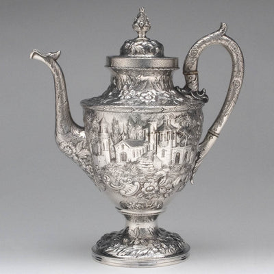 Pot to S. Kirk & Son 'Etruscan' ('Landscape' or 'Castle') Pattern 4-piece Coffee or Tea Service, c. 1855-61
