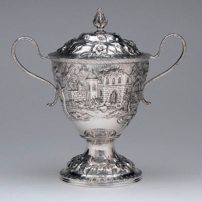 Sugar bowl of the S. Kirk & Son 'Etruscan' ('Landscape' or 'Castle') Pattern 4-piece Coffee or Tea Service, c. 1855-61