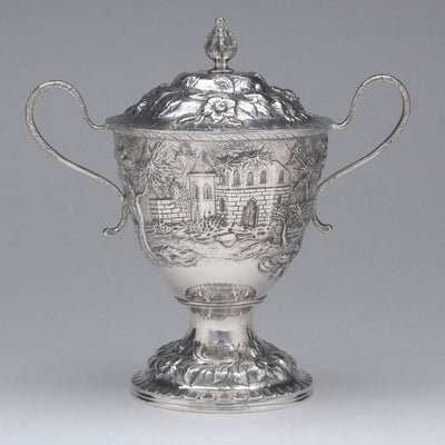 Covered sugar to S. Kirk & Son 'Etruscan' ('Landscape' or 'Castle') Pattern 4-piece Coffee or Tea Service, c. 1855-61
