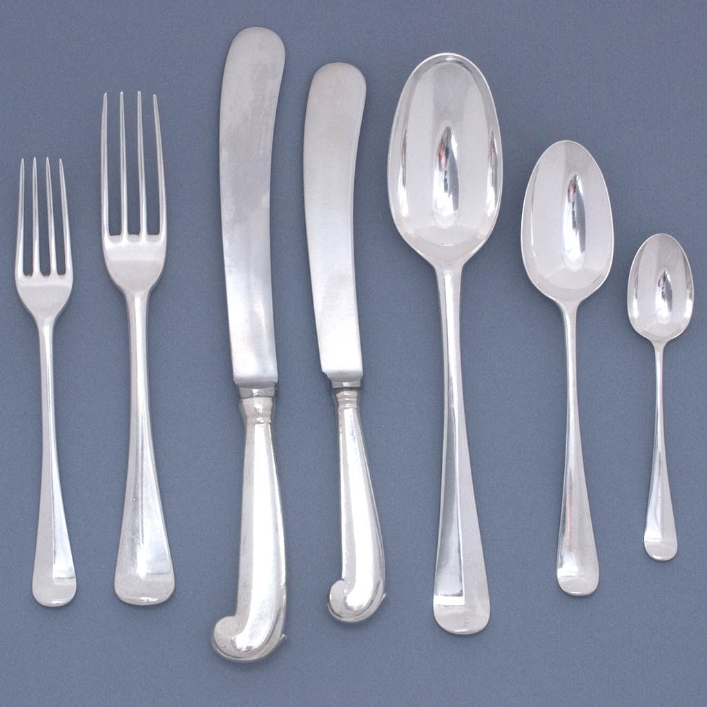 Irish 'Hanoverian' Pattern Sterling Silver George II/III Flatware Service for 12, 1738 and later