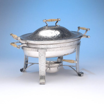 Angle view of Barbour Silver Company Sterling Silver Covered Entree Server, Hartford, CT, c. 1895