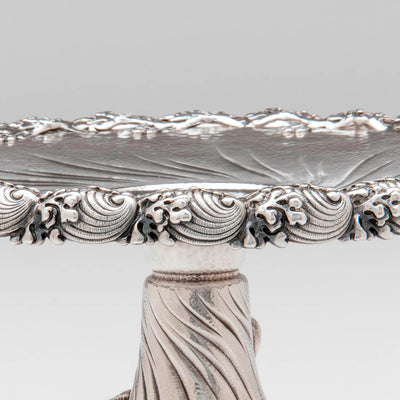 Rim of Tiffany & Co Pair of Antique Sterling Silver Nautical-Theme Compotes, NYC, c. 1883