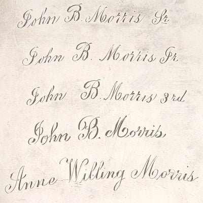 Inscription on Thomas Warner - The Hollingsworth/ Morris Family Large Round American Silver Tray, Baltimore, c. 1805