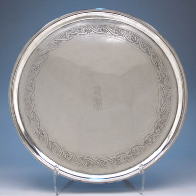 Thomas Warner - The Hollingsworth/ Morris Family Large Round American Silver Tray, Baltimore, c. 1805