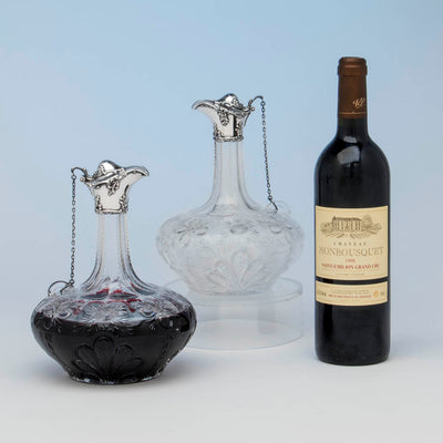 Gorham Antique Pair of Sterling Mounted Hawkes Glass Decanters or Claret Jugs, Providence, 1901