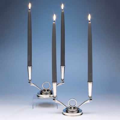 Georg Jensen Pair of Sterling Silver 2-light Art-deco Candelabra, 1945-1977, designed by Harald Nielsen c. 1930