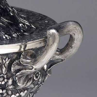 Handle of S. Kirk & Son Repoussé 11oz Silver Covered Soup Tureen, c. 1870-80