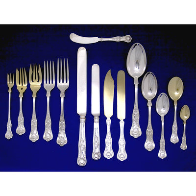 Gorham - The Hugh and Julia Murphy Grant 'Kings III' Pattern Sterling Flatware service for 18, c. 1895
