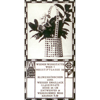 Advertisement for Josef Hoffmann (designed by) Austrian Silver Flower Basket,  c. 1905, made by the Wiener Werkstätte 1906-15