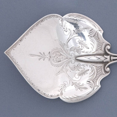 Blade detail Gorham 'Olive Branch' Pattern Sterling Silver Waffle Server, c. 1868