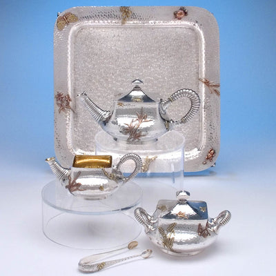 Dominick & Haff Sterling & Other Metals Tête-à-tête Tea Service with Tray, c. 1880