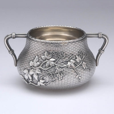Applied decoration on Whiting - The Bowers/ Taft Family Aesthetic Movement Sterling Silver and Mixed-Metal Tête-à-tête Tea Service, c. 1887