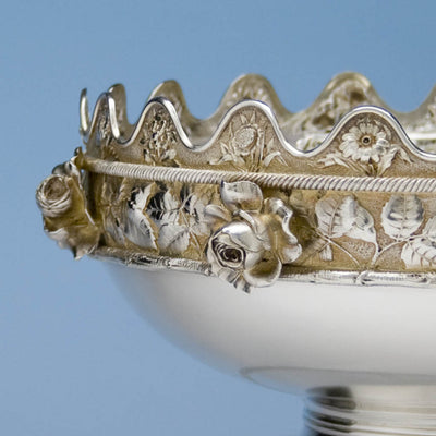 Detail of Gorham 'Eglantine' Pattern Antique Sterling Silver 'Montieth' Style Centerpiece Bowl, Providence, RI, 1880