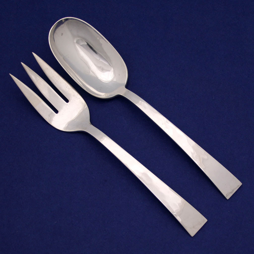 Harry Osaki Sterling Silver Salad Serving Fork and Spoon, Pasadena, CA c. 1960