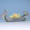 American Aesthetic Movement Sterling and Glass Canoe Form Butter Dish, c. 1880's