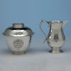 Arthur Stone Sterling Silver Creamer and Covered Sugar Bowl, Gardner, MA, 1932, bearing the arms of George Dudley Seymour