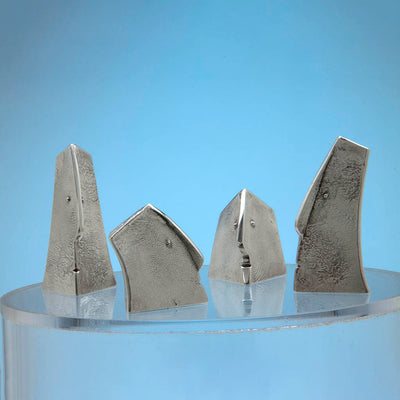 Two Pair of Modern English Sterling Silver Figural Salt and Pepper Shakers, Iain David Young, London, 1991