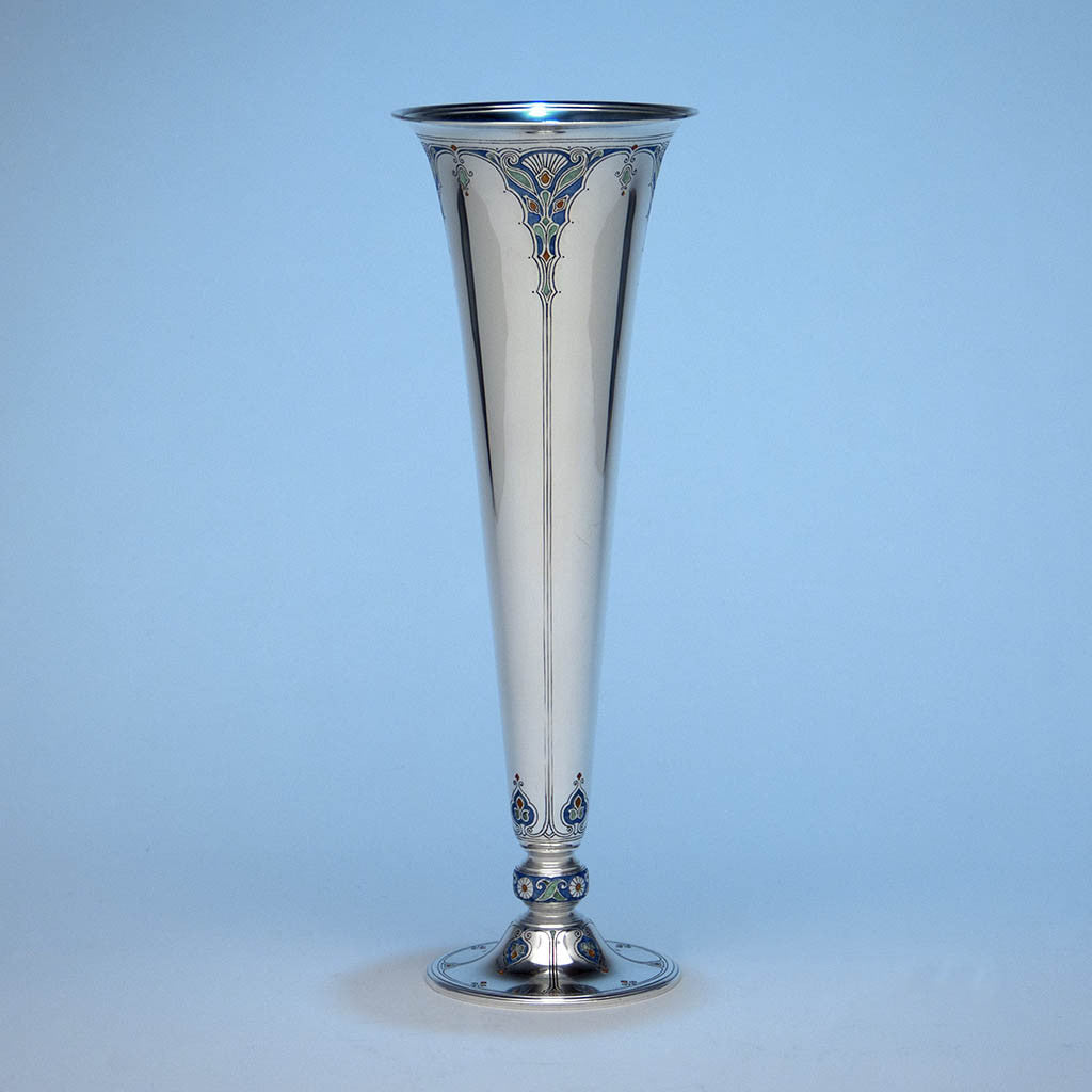 Tiffany & Co Sterling and Enamel Art Deco Vase, New York, c. 1920's
