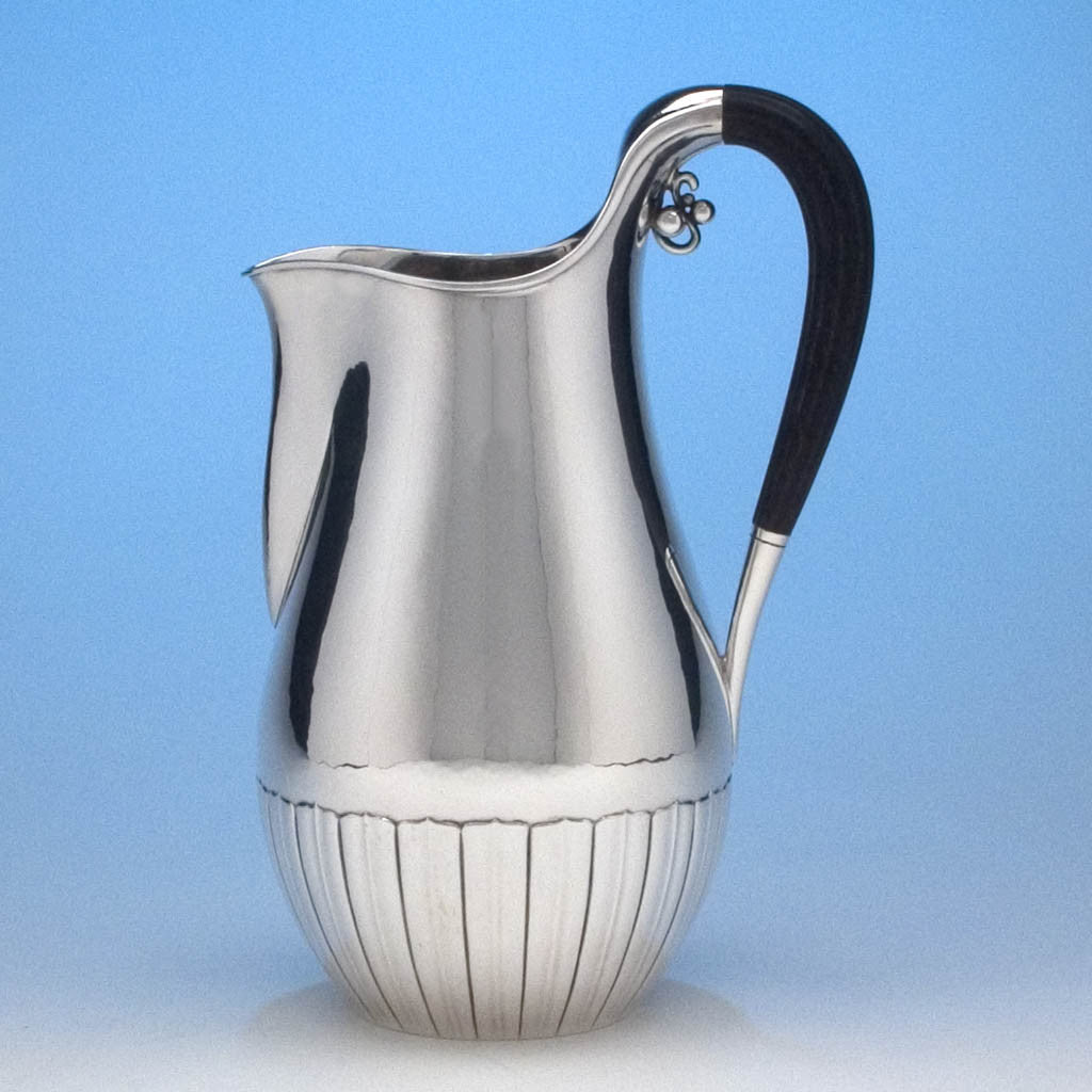 Georg Jensen 'Cosmos' Pattern Sterling Silver Pitcher, c. 1950's
