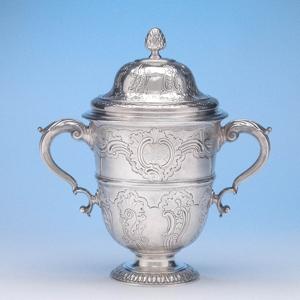 Peter Taylor - The Breton Family George II Sterling Silver English Rococo Two Handled Cup and Cover, London, 1741/42, bearing the arms of Breton for Eliab Breton of Norton Hall, Norton, Northamptonshire and Forty Hall, Enfield, Middlesex