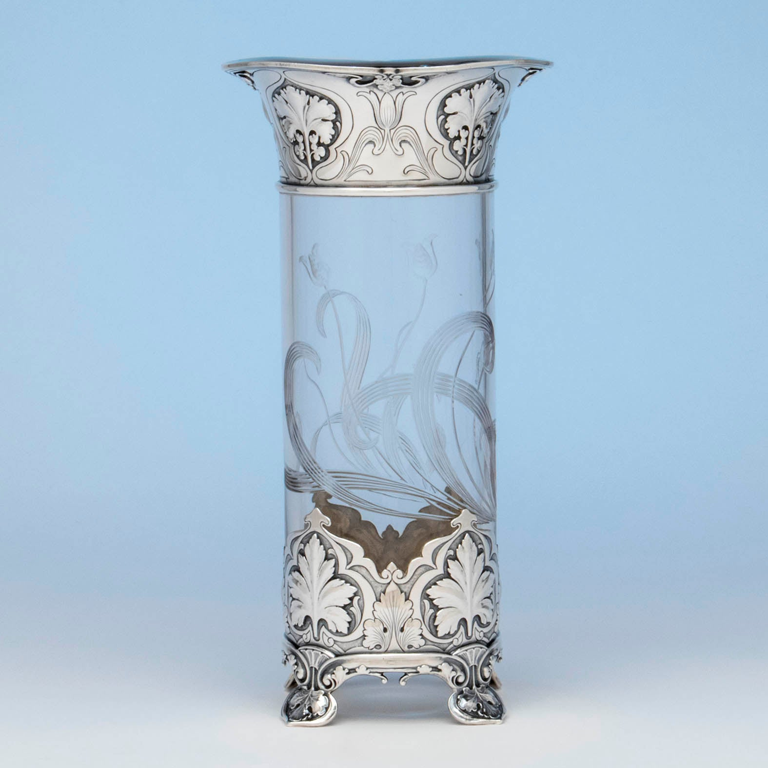 Gorham 'Athenic' Antique Sterling Silver and Cut Glass Vase, Providence, RI, 1902