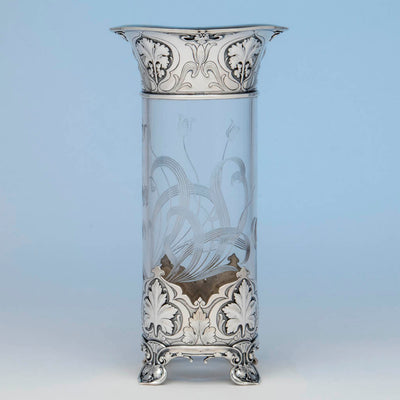 Reverse of the Gorham 'Athenic' Antique Sterling Silver and Cut Glass Vase, Providence, RI, 1902