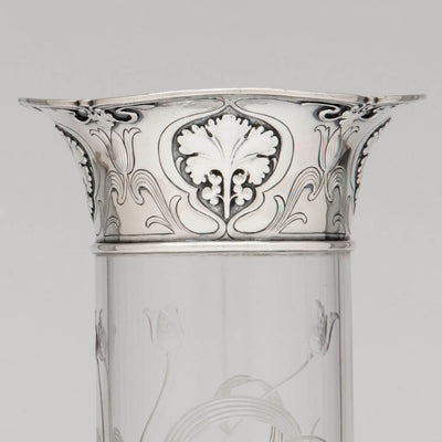 Top detail Gorham 'Athenic' Antique Sterling Silver and Cut Glass Vase, Providence, RI, 1902