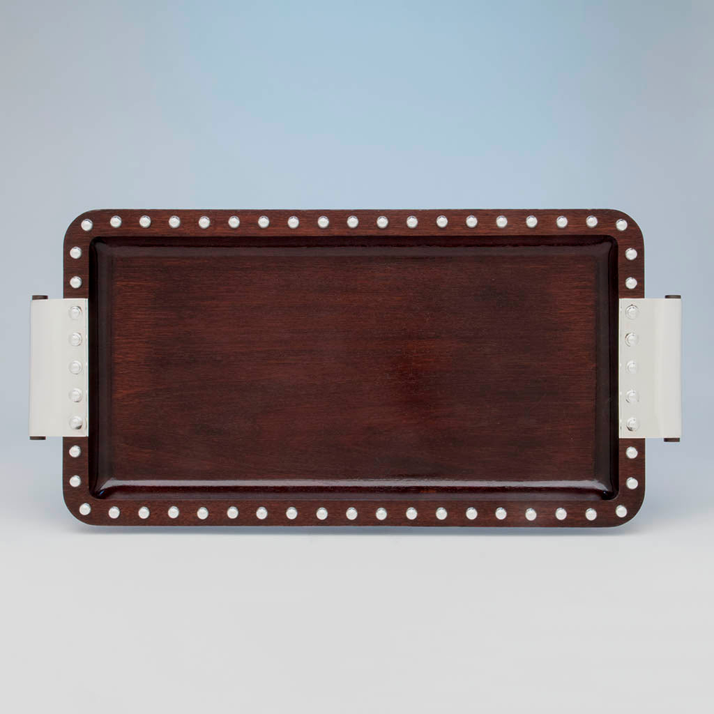 Puiforcat Art Deco Mahogany and Sterling Silver Tray, Mexico, 1942-45