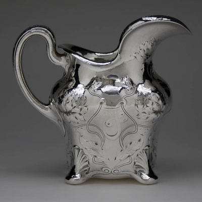 Reverse side of W. J. Braitsch & Co. 'Martelé' Art Nouveau Sterling Silver Water Pitcher, c. 1910