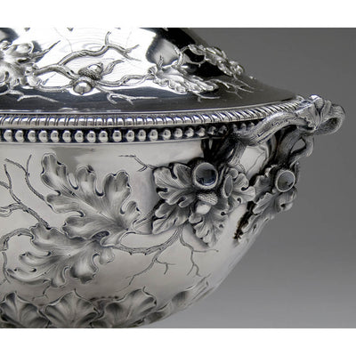 Handle to Jones, Ball & Co Coin Silver Large Covered Soup Tureen, Boston, 1853-55