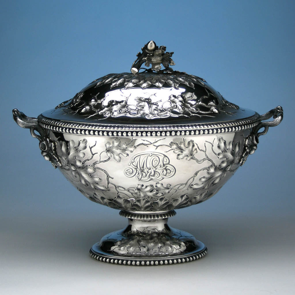 Jones, Ball & Co Coin Silver Large Covered Soup Tureen, Boston, 1853-55