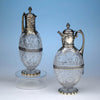Charles Edwards Pair of English Sterling & Crystal Claret Jugs, London, 1895/96